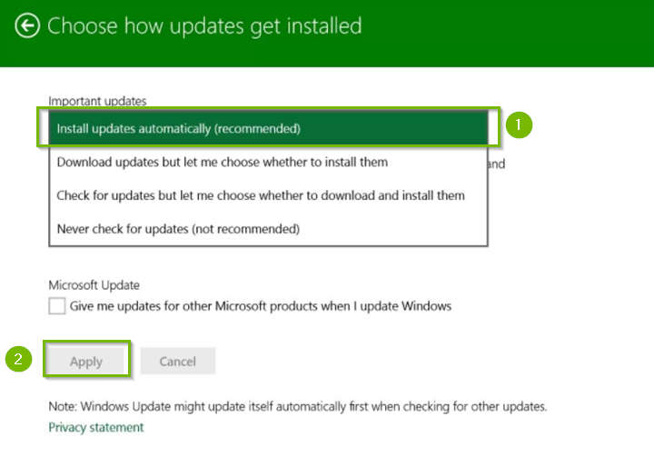 Windows update method selection screen.
