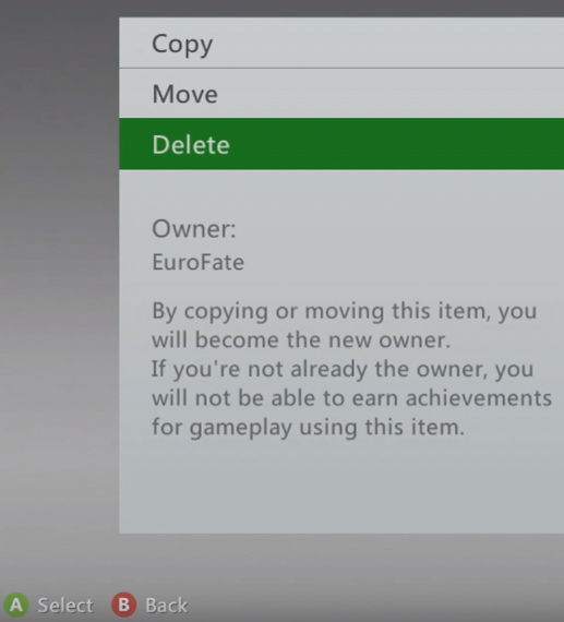 Xbox 360 game properties menu highlighting the Delete option.