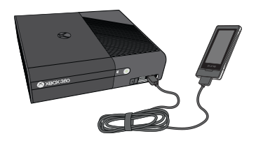 Xbox 360 console showing usb connection to a media player