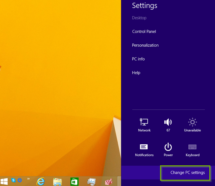Settings panel on right side of the screen on Windows 8.1.