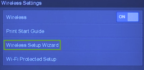 HP printer wireless settings with wireless setup wizard highlighted