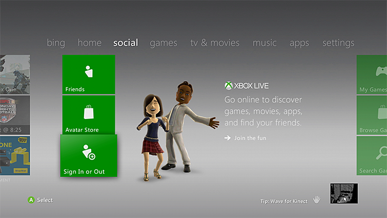 Xbox 360 Sign in icon under social tab