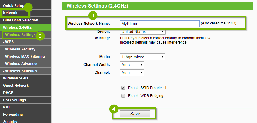 Wireless settings screen with 1. Network 2. Wireless Settings 3. Wireless Network Name and 4. Save buttons highlighted