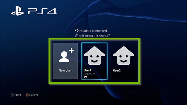 PS4 User selection. Screenshot.