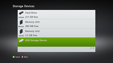 Xbox 360 storage device settings with usb storage selected