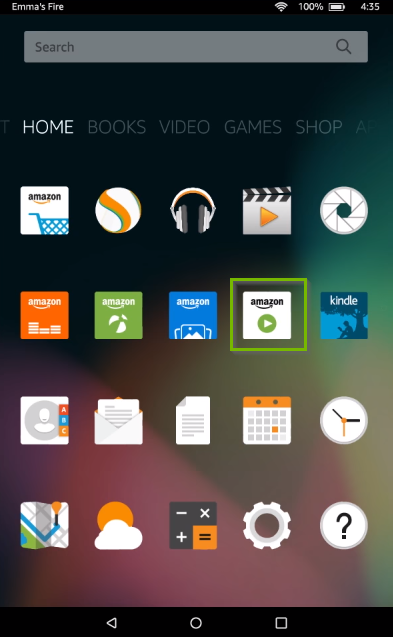 Amazon Video Store icon highlighted Fire tablet screen