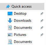 Windows 10 explorer left corner menu