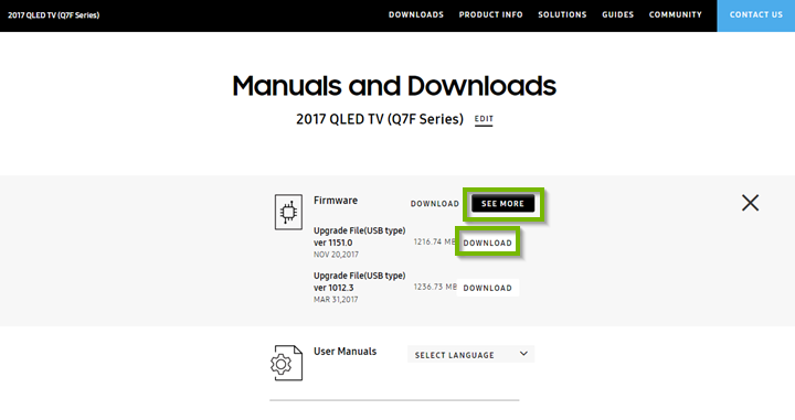 Manuals and downloads page with Download button next to firmware. Screenshot.