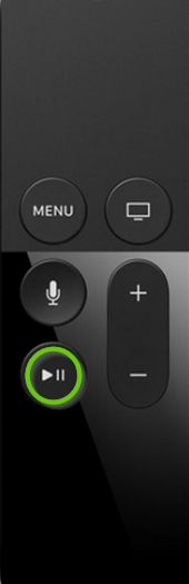 Apple tv remote showing play/pause button