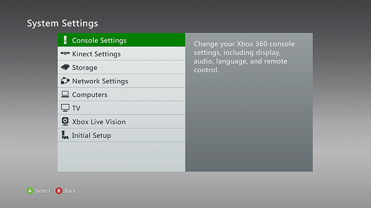 Xbox 360 system settings with console settings selected