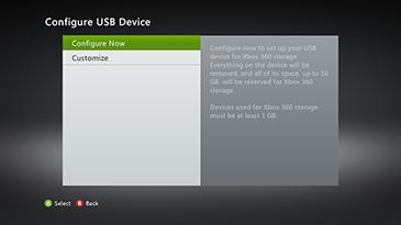 Xbox 360 configure usb storage device
