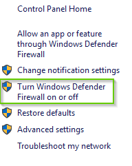 Firewall Settings with Turn Windows Defender On or Off selected. Screenshot.