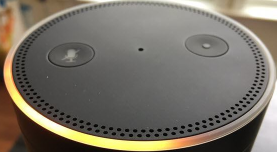 An orange light ring on the echo dot
