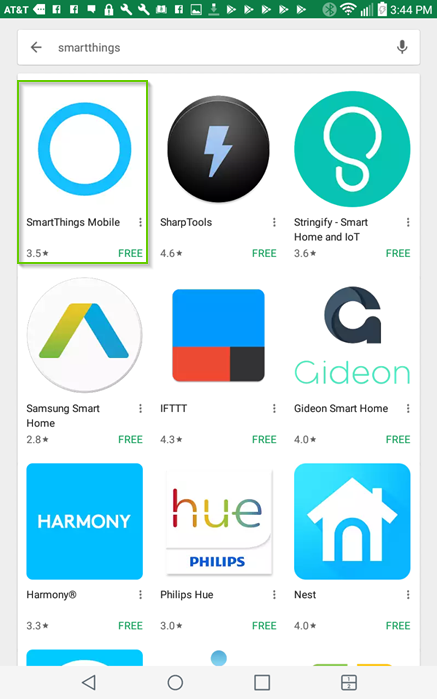 Google play store smartthings search results