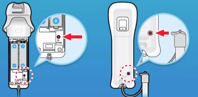 Wii u remote showing the sync buttons