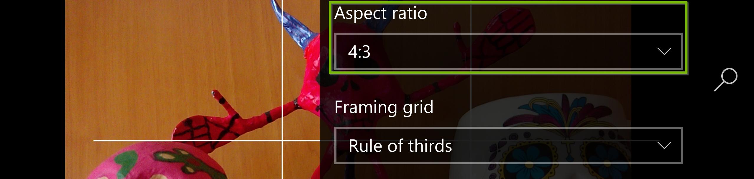 Aspect ratio settings. Screenshot.