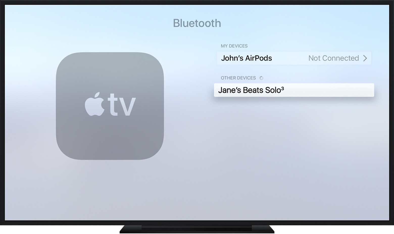 Apple TV Bluetooth menu highlighting an available Bluetooth device.