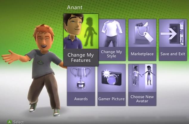 Xbox 360 avatar options