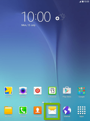 Android home screen with Messages selected. Screenshot.