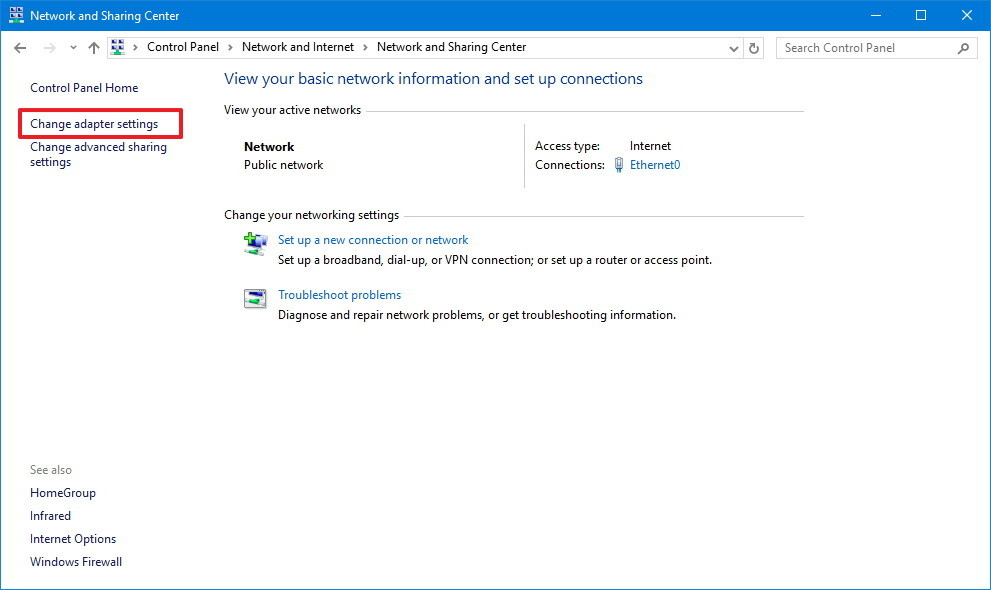 Network and sharing center window with change adapter settings highlighted.