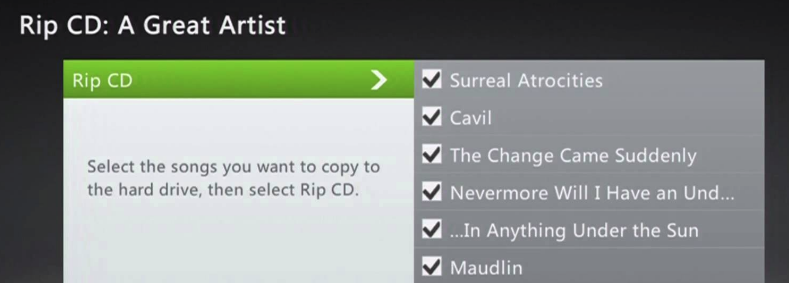 Xbox 360 rip a cd options