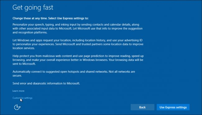 Windows 10 get going fast screen