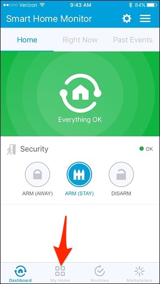 Smartthings home page with my home highlighted