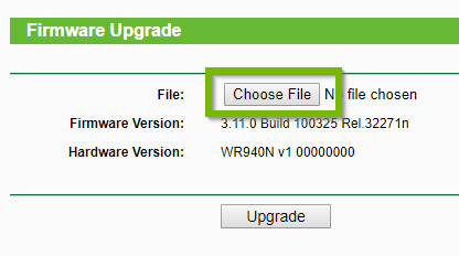 Example 2 of Firmware upgrade screen with Choose File highlighted