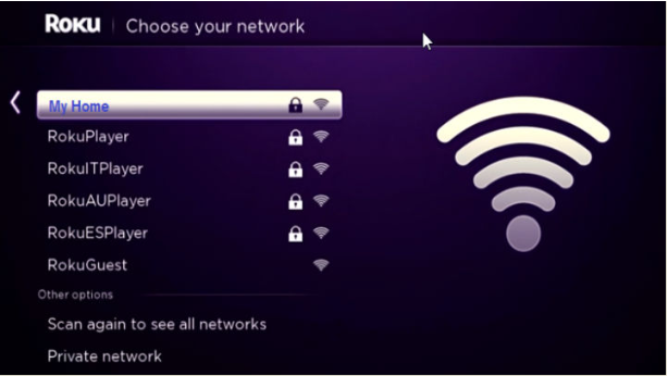 Roku Network menu, displaying a list of available Wi-Fi networks.