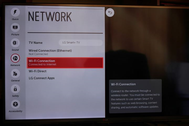 LG tv settings menu with wi-fi connection selected