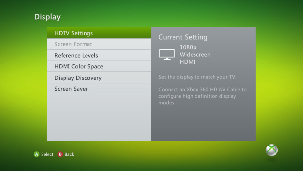 Xbox 360 display settings with hdtv settings selected