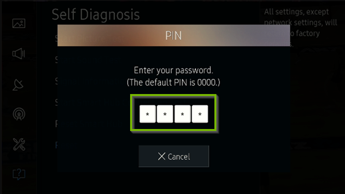 4-Digit security PIN prompt. Screenshot.