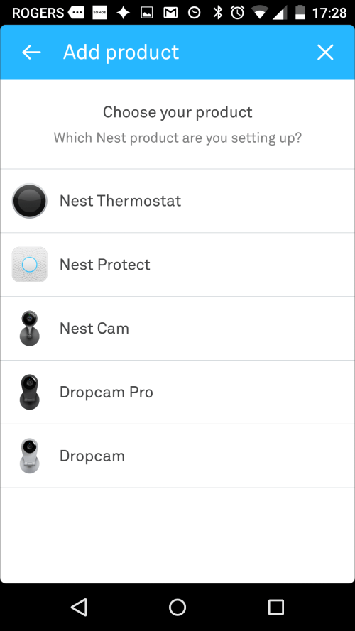 Nest app add product screen. Screenshot.