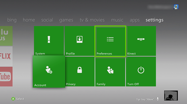 Xbox 360 settings menu showing preferences highlighted