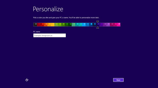 Windows 10 initial personalization screen.
