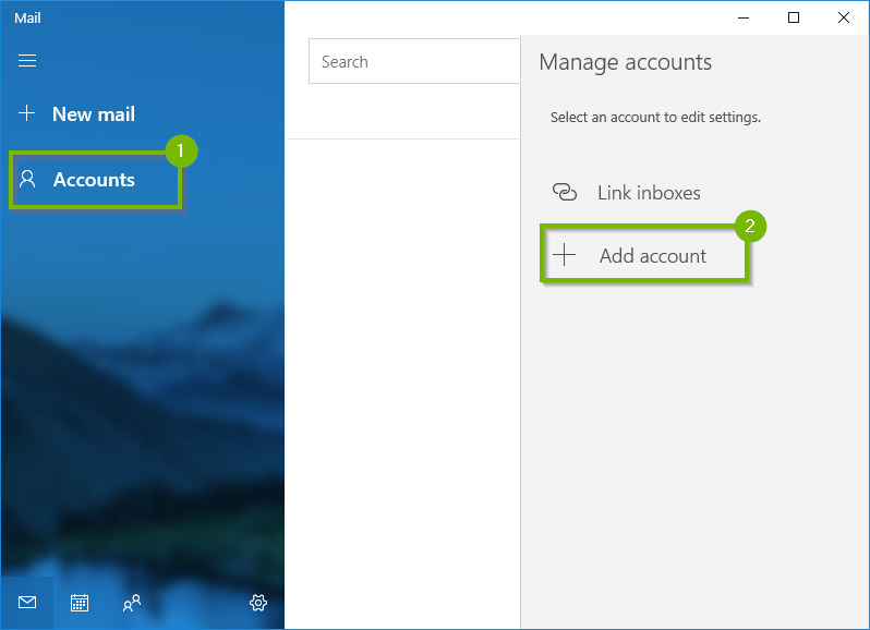 Windows 10 mail app with accounts and add account highlighted
