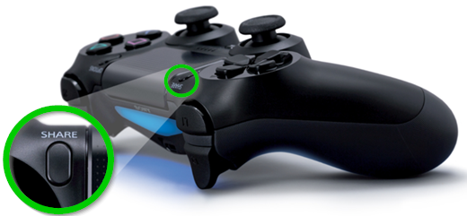 Share button on PS4 controller.
