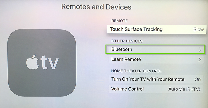 Apple tv remotes and devices settings menu with bluetooth highlighted