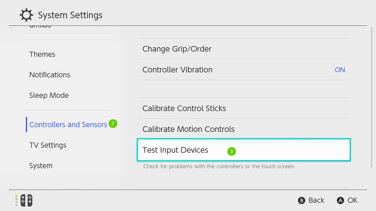 Nintendo Switch system settings menu with controllers and sensors and test input devices highlighted