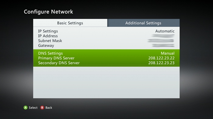 Xbox 360 configure network menu showing dns settings
