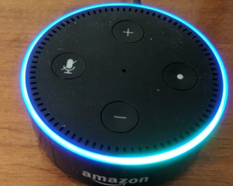 A blue light ring on the echo dot