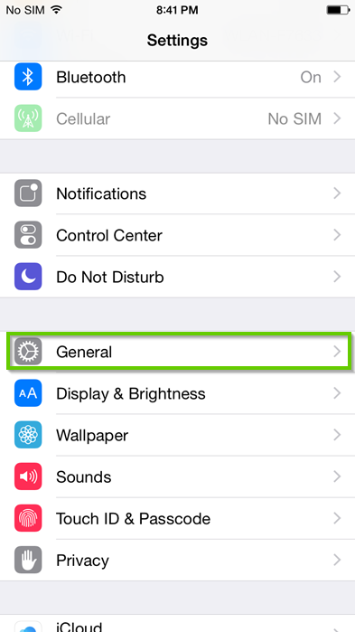 iPhone settings menu with general highlighted