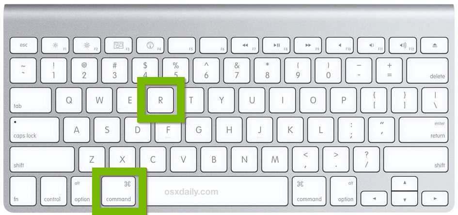 Mac keyboard with Command and R keys highlighted.