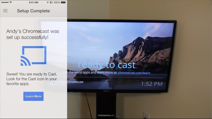Successful setup confirmation on device and ready to cast displayed on television