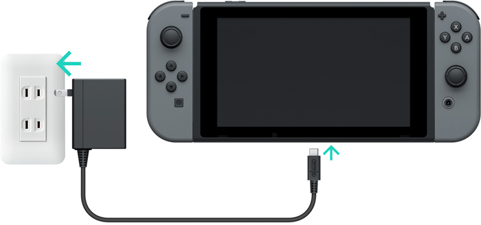 Nintendo switch console with arrows showing plugs going into the console and adapter into the wall