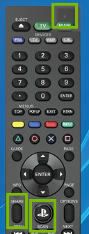 PS remote with PS and Share button held down.