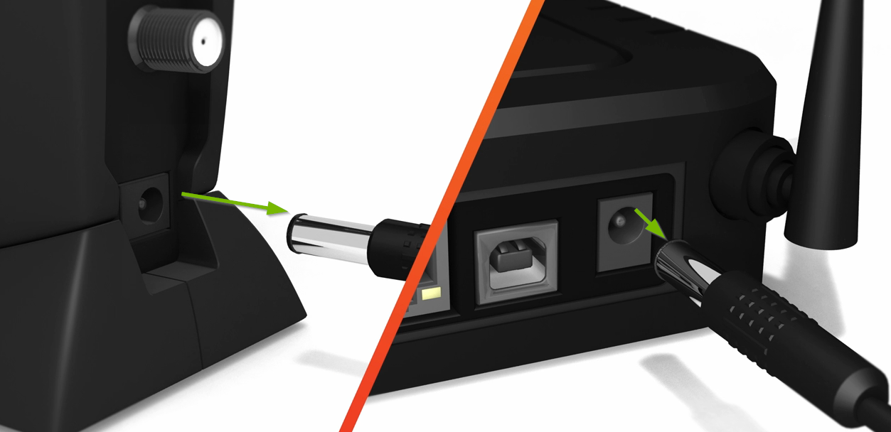 Unplug the power cable from both modem and router. Illustration.