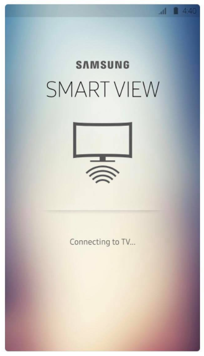 Samsung Smart View App connecting page