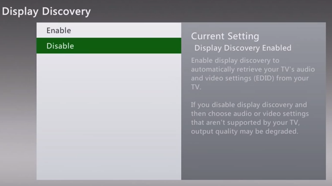 Xbox 360 display discover disabled