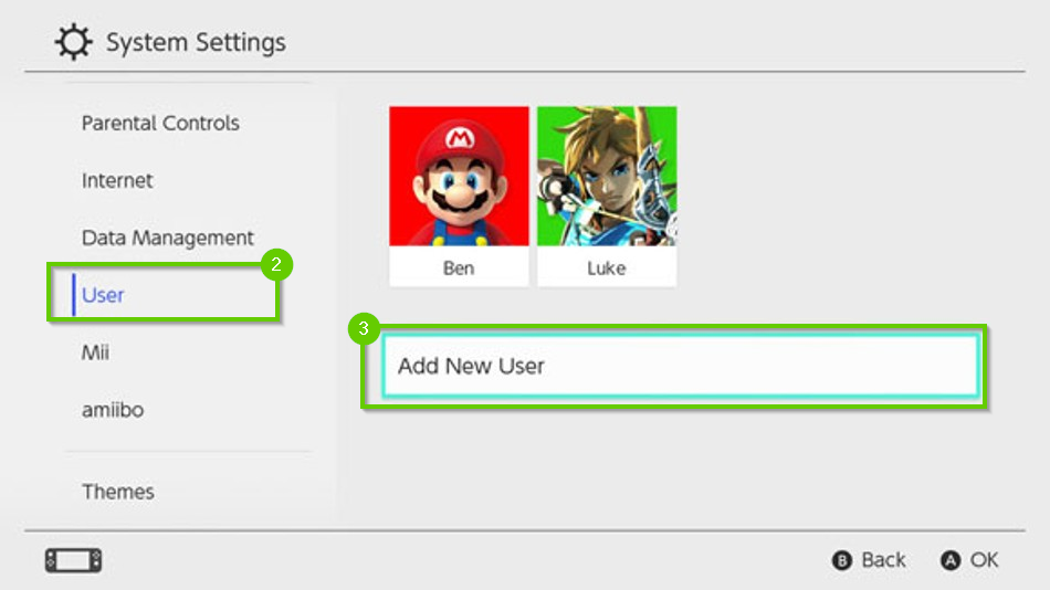 Nintendo Switch system settings menu highlighting the user option and the add new user button.